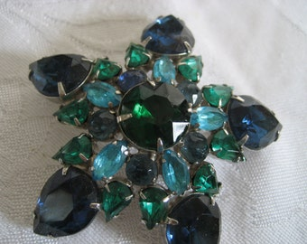 Very large VINTAGE Blue & Green Star Rhinestone Costume JEWELRY Brooch