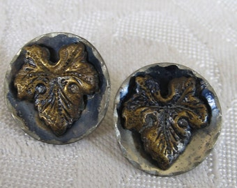 Set of 2 ANTIQUE Grape Leaf in Blue Tint Metal BUTTONS