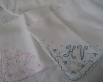 Set of 2 VINTAGE Embroidered Initial Monogram Handkerchiefs