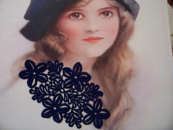 Navy Flowers Lace Applique/ Jewelery/ Crazy Quilts/ Lingerie