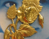 Natural Raw Brass Large Blooming Roses Stamping 170RAW  x1