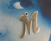 Silver Ox Plated Small  Fancy Script Charms Letter M 2012SOX x1