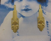 Natural Raw Brass Art Deco Style Drops 836RAW  x2