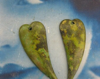 Verdigris Patina Brass Heart Charms 534VER x2