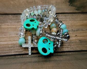 Smokey Skull, Western Cowgirl Turquoise & Crystal Skull Beaded Stretch Bracelet