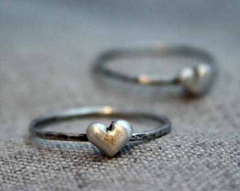 Rustic Puffy Heart Ring