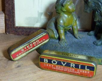 2 Vintage Litho Beef Boullion Cube Tins Bovril Steero