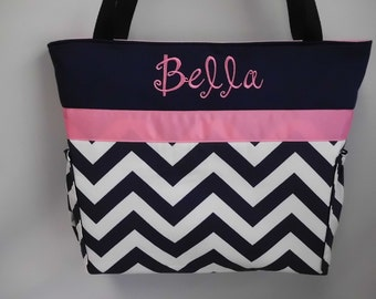 CHEVRON  in NAVY  .. PINK  Accents  ...   Diaper Bag ... Bottle Pockets ... Monogrammed  FReE