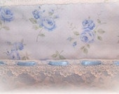 NEW Cottage Chic Light Shabby Blue Roses Guest TOWEL for Decorative Display