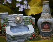 Fairy Furniture - Terrarium Garden Decor Accessories - Fountain & Chiminea