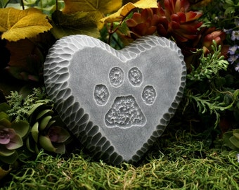 Pet Memorial Stone / Plaque for Dog or Cat -  Paw Print - Headstone - Marker