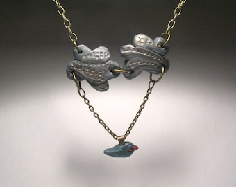 Bluebird Necklace - Cloud Necklace - Wearable Art Sculpture