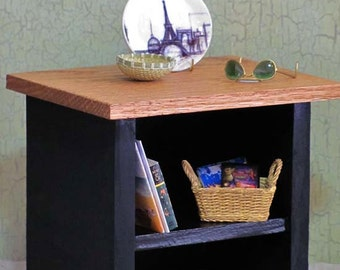 Miniature TABLE Bedside or End Table with Shelf  -  Real WOOD  -   Black with Oak Top for 1/6 Scale Fashion Dolls and Action Figures