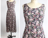 Vintage Floral Print Grunge Dress with Corset Back / xs - s