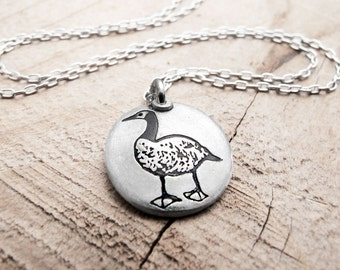 Little Canada Goose necklace, silver goose jewerly