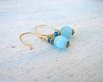 Teal and Gold Earrings Something Blue FREE SHIPPING