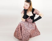 50s Iridescent Pink Paisley Circle Skirt Strapless Dress & Bolero Jacket with Black Velvet Details XS S - denisebrain