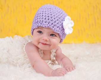 Newborn Girl Hat Newborn Baby Girl Hat Newborn Hat Lavender Baby Hat Light Purple Crochet Flower Hat Spring Flapper Beanie Baby Girl Clothes