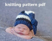 Chunky Knotted Long-Tail Newborn Hat Knitting Pattern PDF 135, INSTANT DOWNLOAD -- Permission to Sell Hats -- Over 16,000 patterns sold