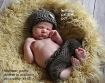 Two Hat Patterns in One -- Chunky Newsboy & Button Beanie Knitting Pattern PDF Number 125, INSTANT DOWNLOAD -- Newborn Size Only