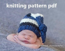 Chunky Knotted Long-Tail Newborn Hat Knitting Pattern PDF 135, INSTANT DOWNLOAD -- Permission to Sell Hats -- Over 35,000 patterns sold