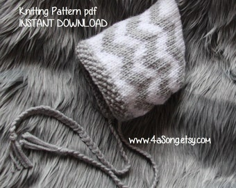 Chevron Baby Bonnet Knitting Pattern, PDF 143 -- INSTANT DOWNLOAD -- Permission to Sell Hats -- Over 35,000 patterns sold