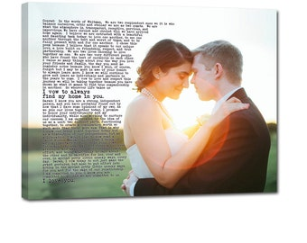 Personalized Unique Wedding Present Photo and writing typography OOAK canvas 18X24