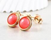 Coral Stud Earrings, Salmon Posts, Coral Post Earrings, Bridesmaid Gift, Handmade