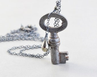 Vintage Key Necklace, Long Necklace, Oxidized Sterling Necklace