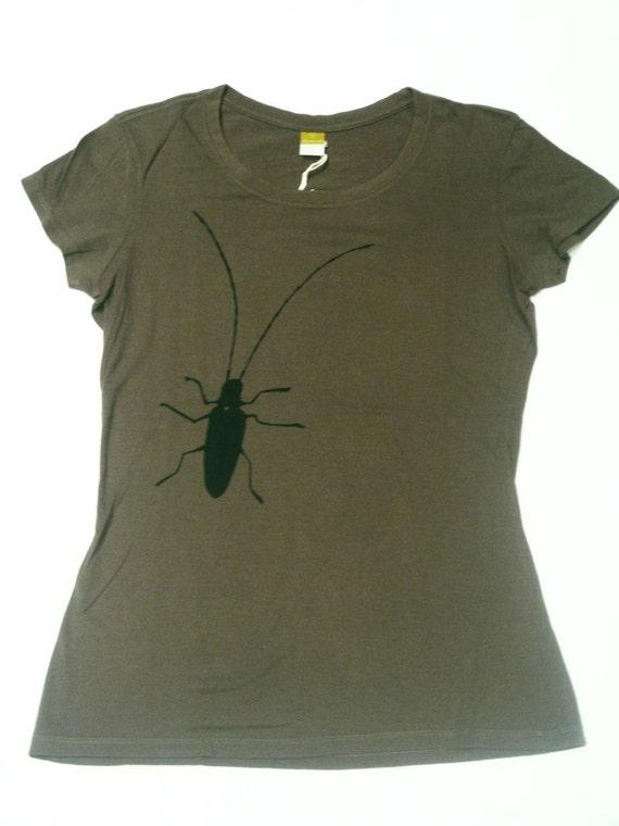 Bug Screenprinted Army Green Bamboo T Shirt