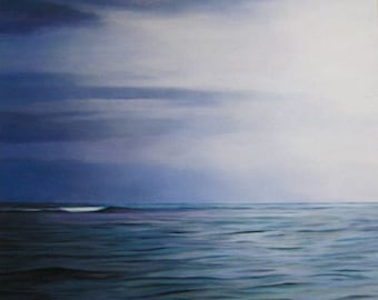 She Hangs Brightly, Giclee, 8x8 and Up, Print on Canvas, Ready to Hang, Pacific Ocean, Twilight, Seascape, Ocean, Clouds, Blues