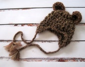 Baby Hat, Baby Bear Hat, Boy Baby Hat, Girl Baby Hat, Ready to Ship, Hat for Babies, Newborn Bear Hat, Infant Bear Hat, Infant Hat, Brown