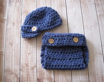 Newborn Boy Hat and Diaper Cover Set, Baby Boy Outfit, Infant Photo Outfit, Baby Newsboy Hat Set, Take Home Outfit, Baby Gift For Boy, Blue