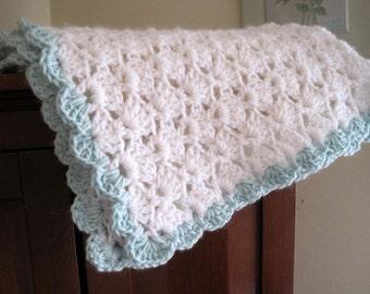 Crochet Baby Blanket, Newborn Gift, Baby Shower Gift, Stroller Blanket, Newborn Blanket, Unisex Baby Blanket, White