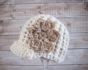 Baby Cotton Hat, Baby Girl Newsboy Hat, Baby Girl Hat, Newborn Girl Hat, Baby Flower Hat, Ecru, Crochet Baby Girl Hat