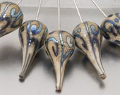 Head pins - helix teardrops (1) - dark ivory and silver - sterling - by Jennie Yip