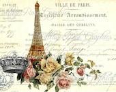 Large digital download Ville de Paris French Script Eiffel tower image BUY 3 get one FREE ecs