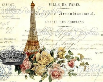Large digital download Ville de Paris French Script Eiffel tower image BUY 3 get one FREE ecs