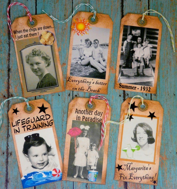 Old Summer & Funny Tags 2 pdf sheets-  U Print Collage art fun vintage photos primitive digital beach margarita chips baby sayings