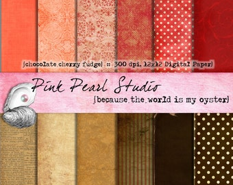 Digital Paper Pack Chocolate Cherry Fudge 12x12...Brown and Red Scrapbooking, Crafts and Cardmaking