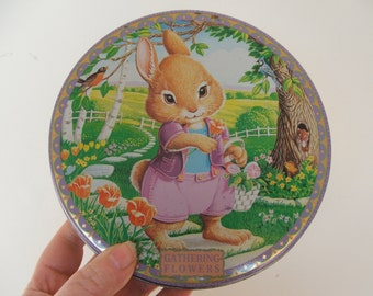Vintage Bunny Rabbit Tin Gathering Flowers
