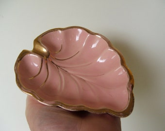 vintage coral with gold leaf shape ashtray