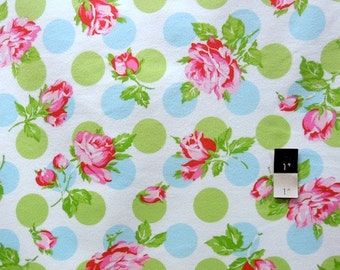Tanya Whelan FATW002 Sugar Hill Falling Roses Blue Cotton FLANNEL Fabric 1 Yard