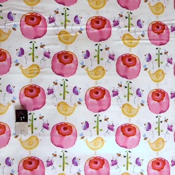 Kathy Davis PWKD043 Sweet Birdie Petals & Pals Bubblegum Cotton Fabric 1 1/8 Yd