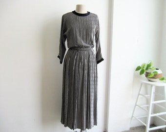 Vintage Silk Calvin Klein Dress. Navy and White Stripes. Edwardian Revival.