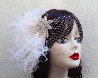 Ivory White Beaded Star, Head Piece, Feather Fascinator, Removable Veil, Crystal, Unique Bridal, Batcakes Couture