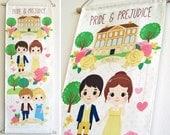 Cutie Pride and Prejudice Wall Hanging - Original Smile Recipe Design - Jane Austen