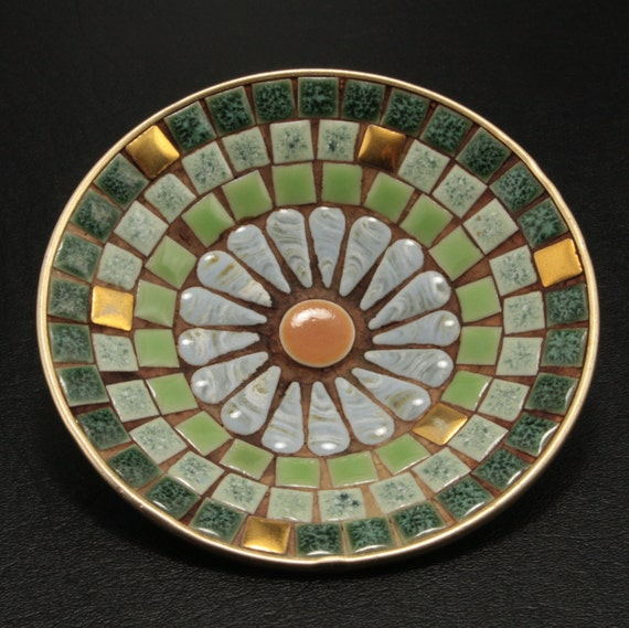 Mosaic Tile Daisy Ashtray Green Gold Yellow White Vtg