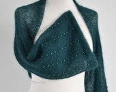 Knitted shrug, mohair, dark green,  beads, I975