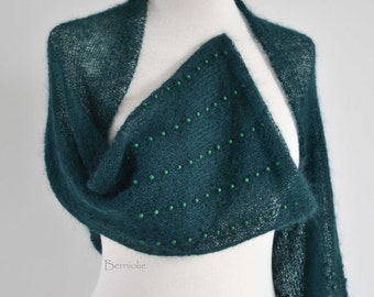 Knitted shrug, mohair, dark green,  beads, I975